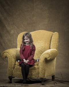 on the yellow chair